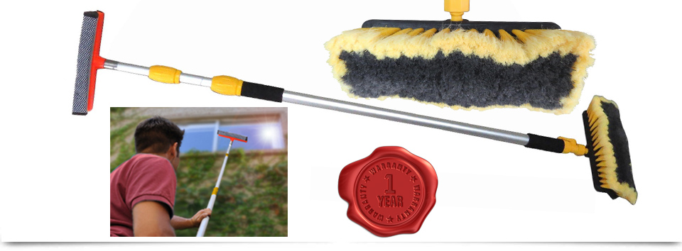9ft 3m Water Fed Telescopic Window Cleaning Brush Pole