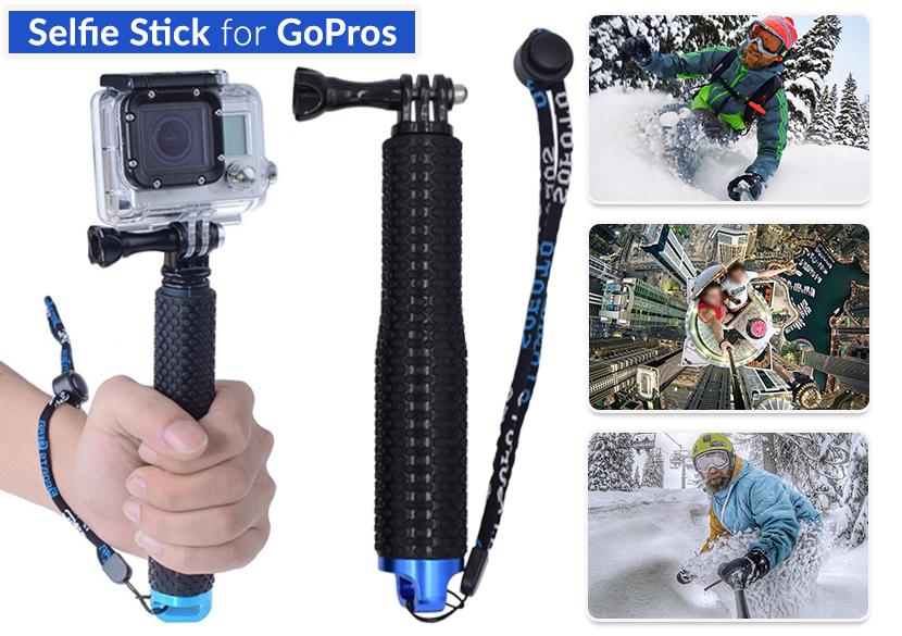 asta allungabile hand grip monopiede selfie stick per gopro hero 4 3 3 2 1 uk. Black Bedroom Furniture Sets. Home Design Ideas