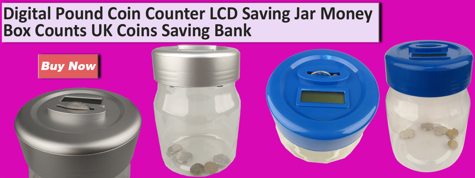 Digital lcd coin counter uk coins saving safe piggy bank counting jar money box ebay - Coin bank that counts money ...
