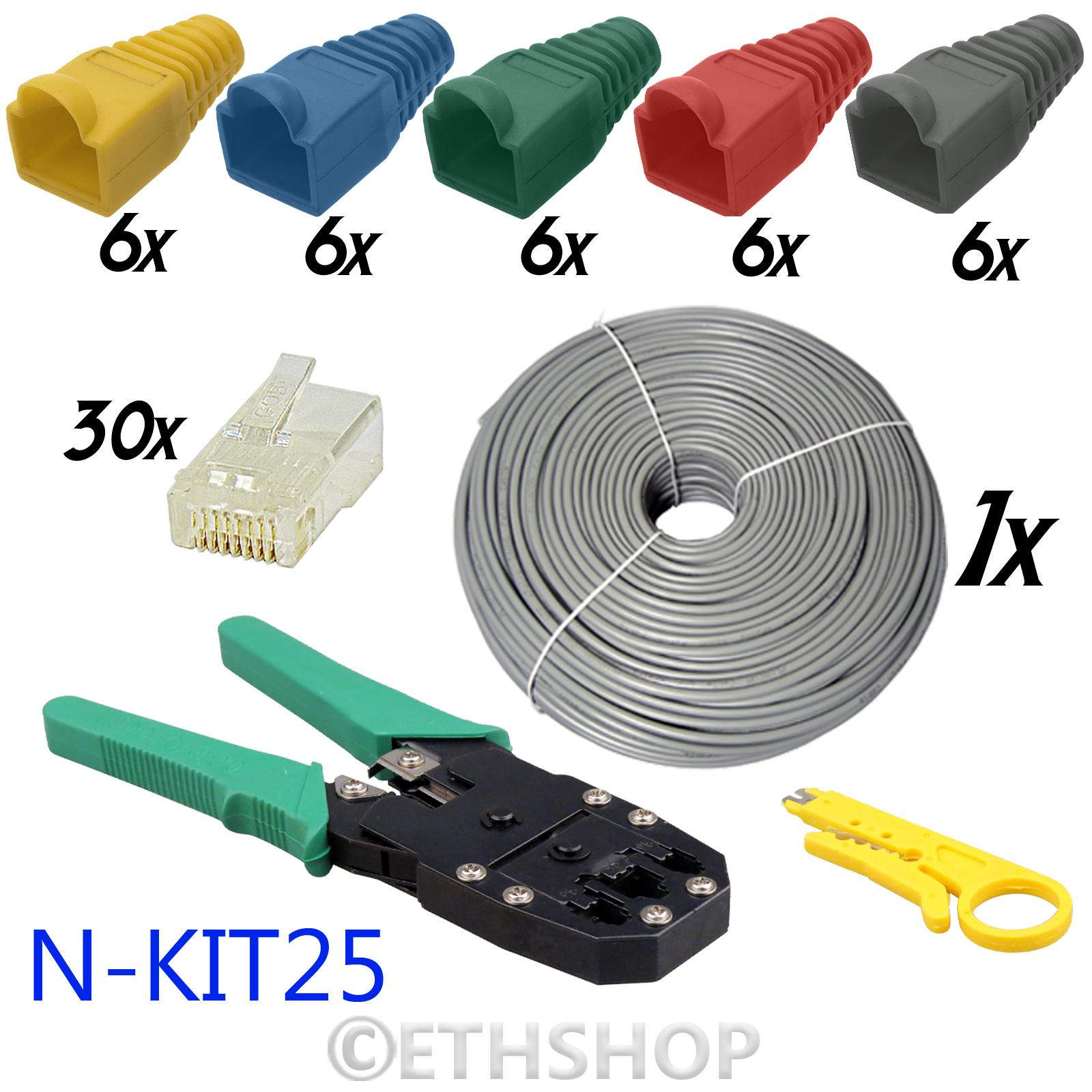 30m ethernet network rj45 cat5e cable tester crimper punch down tool kit w boots ebay. Black Bedroom Furniture Sets. Home Design Ideas