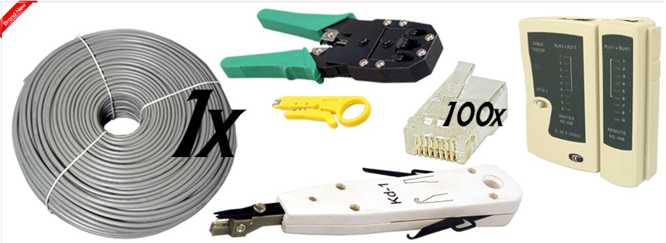 100m rj45 cat5e cat6 network ethernet cable tester crimper punch down tool kit ebay. Black Bedroom Furniture Sets. Home Design Ideas