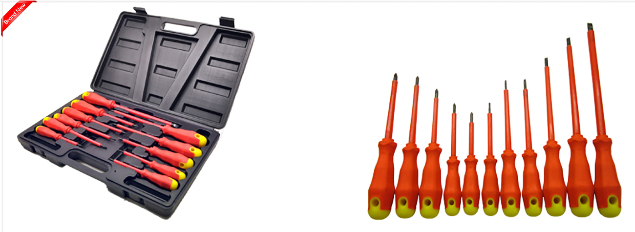 electricians screwdriver set fully insulated 11 pc with carry case ebay. Black Bedroom Furniture Sets. Home Design Ideas